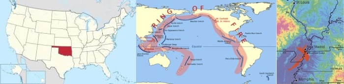 Oklahoma Fault lines, New Madrid Fault lines and the Ring of Fire