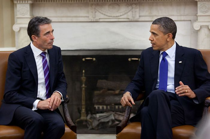 President Barack Obama meets with NATO Secretary General Anders Fogh Rasmussen in the Oval Office, May 13, 2011