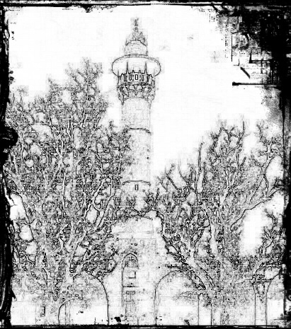 A tall slender tower, typically part of a mosque, with a balcony from which a muezzin calls Muslims to prayer.