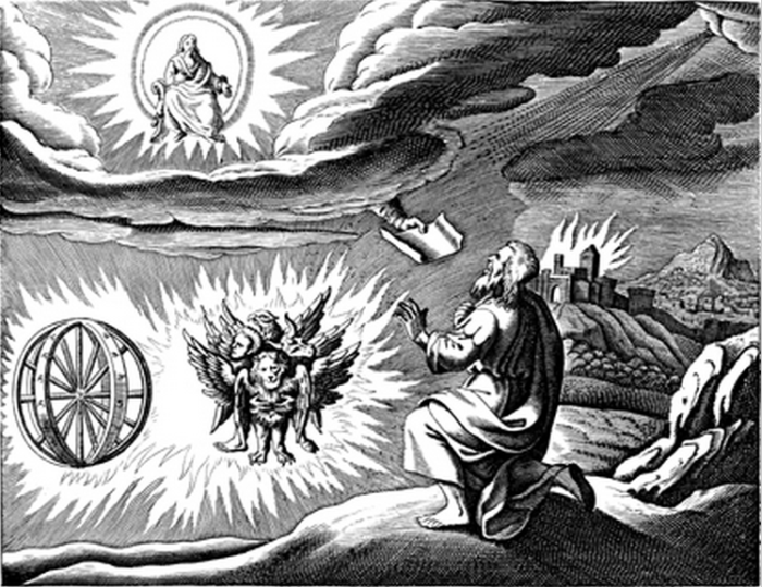 One traditional depiction of the cherubim and chariot vision, based on the description by Ezekiel.