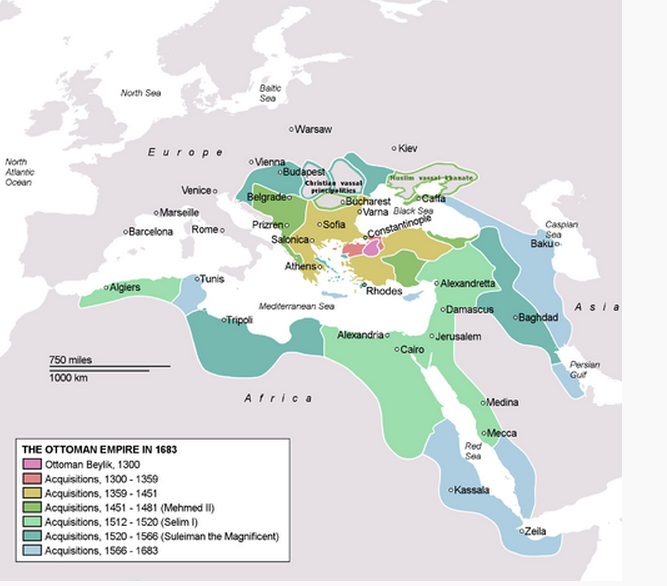 The Ottoman Empire at its greatest extent, in 1683