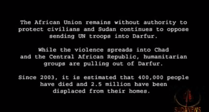 "Screenshot:  From ""The Devil Came On Horseback""  (Janjaweed)"