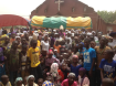 THE RETURNING COMMUNITY IN BETSO WITH THE BISHOP OF MAIDUGURI DURING A CONSOLATION TOUR AFTER THE BOKO HARAM MASSACRE