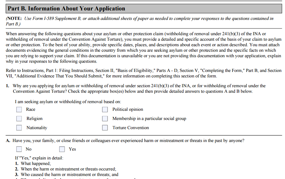 Supplement B Form I 589 Ibovnathandedecker