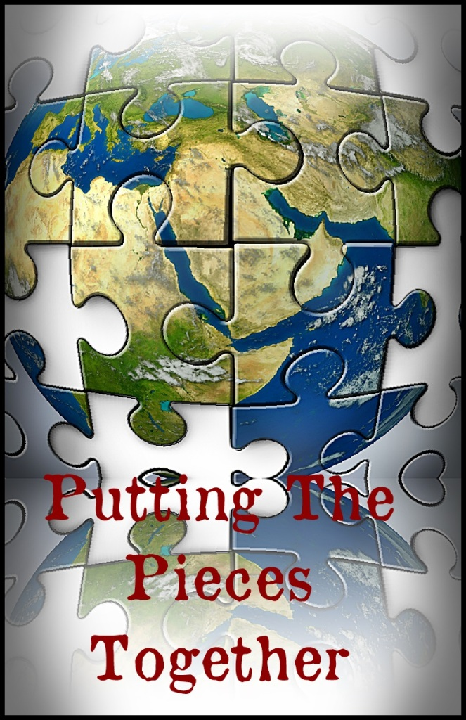 Middle East crisis as a broken jigsaw puzzle with missing pieces showing the turmoil and political struggles of the persian gulf and crude oil with countries as Iran Israel Egypt Libya Kuwait Syria Saudi Arabia during the Arab spring.