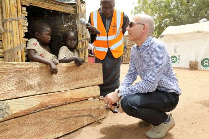 UN ASSISTANT HIGH COMMISSIONER FOR PROTECTION VOLKER TÜRK TALKS TO DISPLACED NIGERIAN CHILDREN IN MALKOHI HOST COMMUNITY, YOLA, NIGERIA.