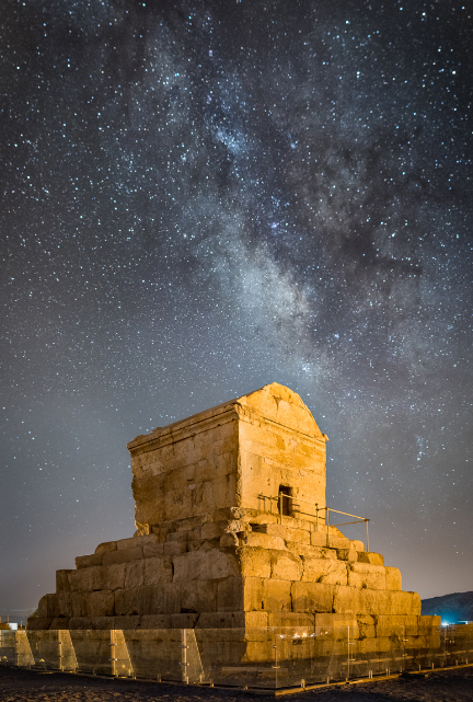 Tomb of Cyrus under the starry sky of Pasargadae, Iran, a UNESCO World Heritage Site (2015) wikimedia commons