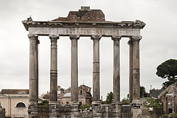 Part of the Temple of Saturn still stands in Rome today.